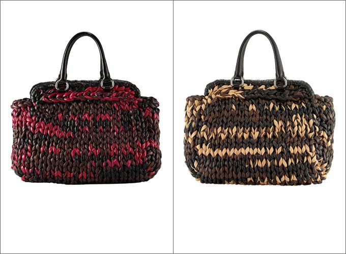 Красная и бежево-коричневая сумки Prada.