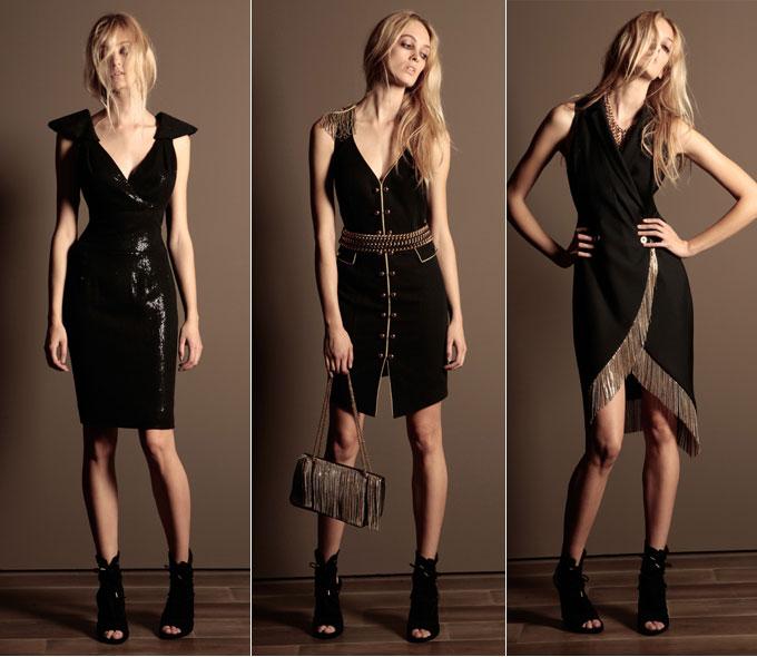 Черное платье с цепью