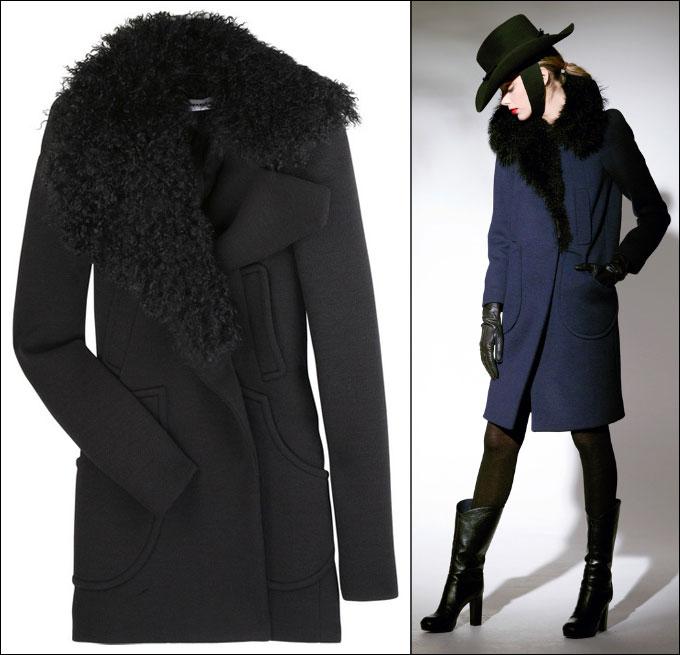 Пальто с меховым воротником фото ::