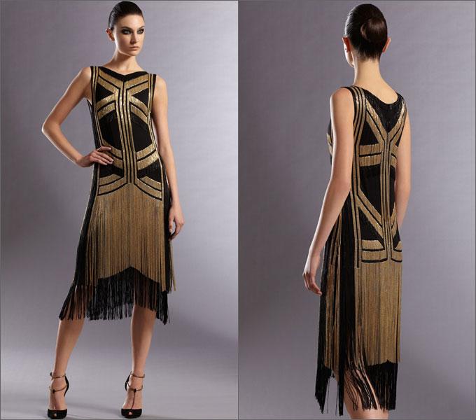 Характерные элементы платьев в стиле Art Deco: - заниженная линия талии...