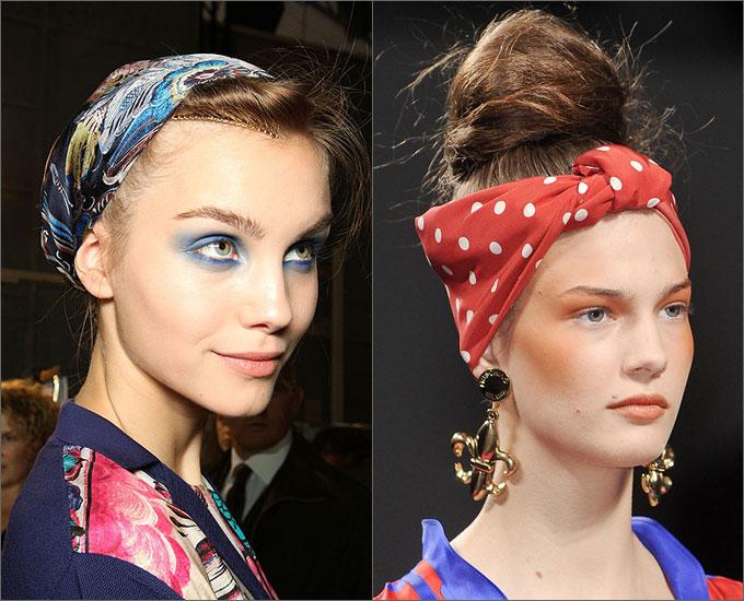 Повязка на голову Сложив платок по диагонали несколько раз, можно сделать повязку в стиле хиппи или наподобие...