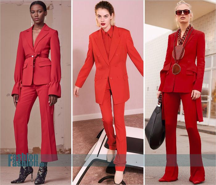 Красные брючные костюмы
