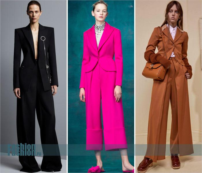 Необычные женские костюмы с широкими брюками